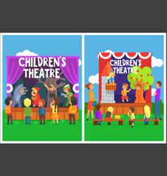 Amateur children theatre performance of a fairy vector