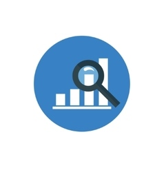Analytics Icon Graph and Magnifier symbol in flat vector image