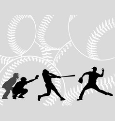 baseball players silhouettes on the abstract vector image
