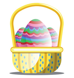 basket full of colorful easter eggs with pattern vector image