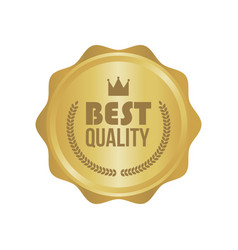 Best quality gold sign round label vector