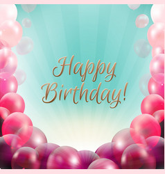 Birthday card frame with balloons vector