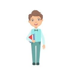 Boy In Blue Trousers And Vest Holding Books Happy vector