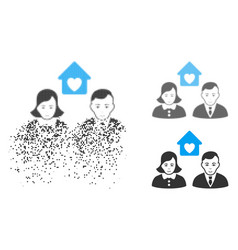 broken dotted halftone people marriage icon with vector image