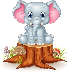 Cartoon cute baby elephant on tree stump vector