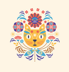 cat head and flowers greeting or invitation card vector image