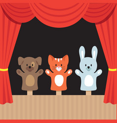 Children puppet theater scene with cute animals vector