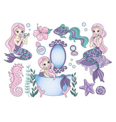clip arts purple mermaid color vector image