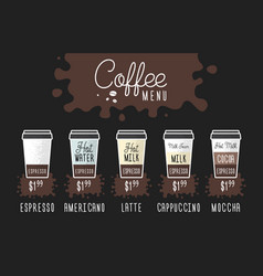 Coffee menu layout with price flat vector