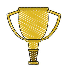 Color crayon stripe cartoon golden cup trophy vector