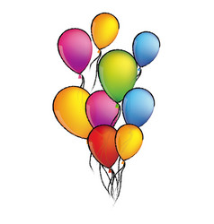 colorful sketch set flying balloons decorative vector image