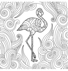 Coloring page with doodle style flamingo in vector