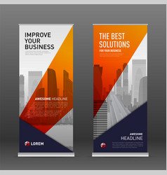 Construction roll up banner design template vector