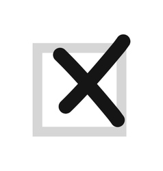 Cross in box icon flat style vector
