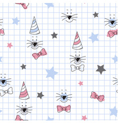 Cute cat face star pattern for kids simple vector