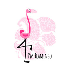 cute pink flamingo on floral background sketch vector image