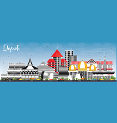 Depok indonesia city skyline with color buildings vector