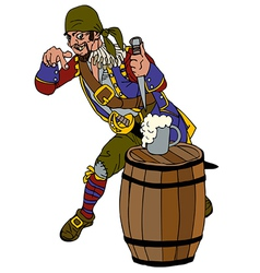 Drunk pirate on a barrel of rum vector
