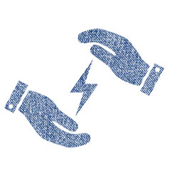 Electricity supply care hands fabric textured icon vector