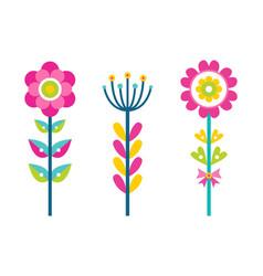 fantastic flowers composed colorful details set vector image