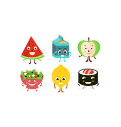 flat set of food and drink characters vector image
