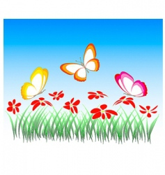 flowers and butterflies illustration vector image