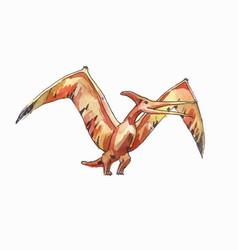 Flying pterodactyl drawing watercolor vector