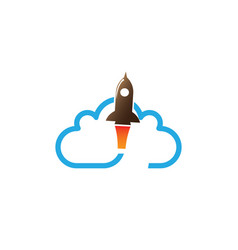 flying rocket across a big cloud for logo design vector image