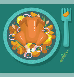fried chicken roast turkey vector image