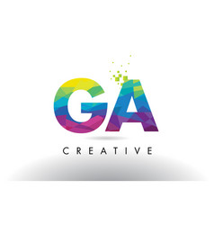 ga g a colorful letter origami triangles design vector image