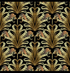 Gold 3d ornate damask seamless pattern hand vector