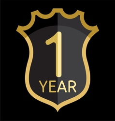 Golden shield 1 year vector image