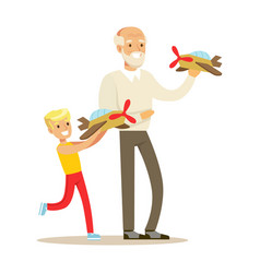 Grandfather and boy playing toy planes part of vector