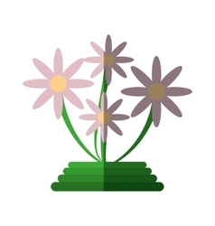 green basket flowers decoration icon vector image