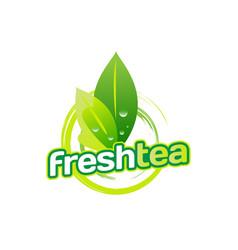 green fresh tea logo sign symbol icon vector image