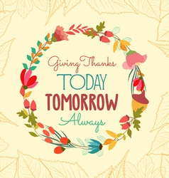 Happy thankgiving with leaves and flower greeting vector