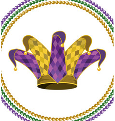 jester hat round icon vector image
