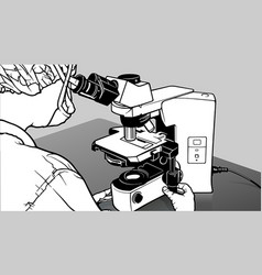 laboratory technician looking through a microscope vector image