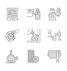 Linear icons set for car service vector image
