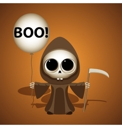 Little grim reaper with scythe and air balloon vector image