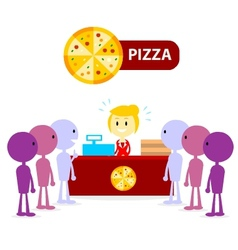Long queue at pizza counter vector