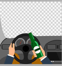 Man using alcohol while driving a car is a vector