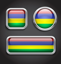 Mauritius flag glass buttons vector image