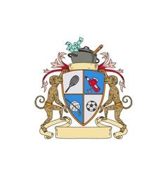 Monkey Money Cook Pot Sports Wine Coat of Arms vector image