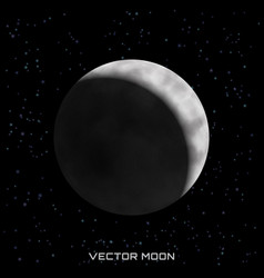 Moon on cosmic background with stars vector