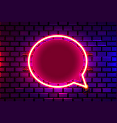 Neon frame sign in shape a chat template vector