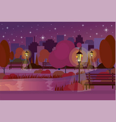 Night city park wooden bench street lamp river vector