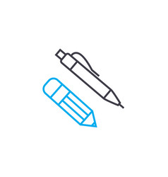 office stationery thin line stroke icon vector image