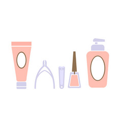 pedicure icons set pedicure accessory tools vector image
