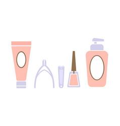 pedicure icons set pedicure accessory tools vector image